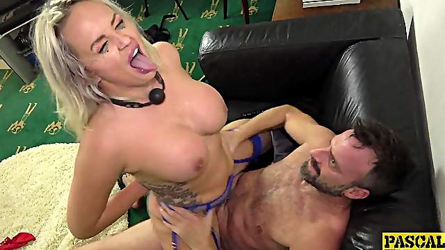 Gagged MILF gets roughly fucked and made to swallow a lot
