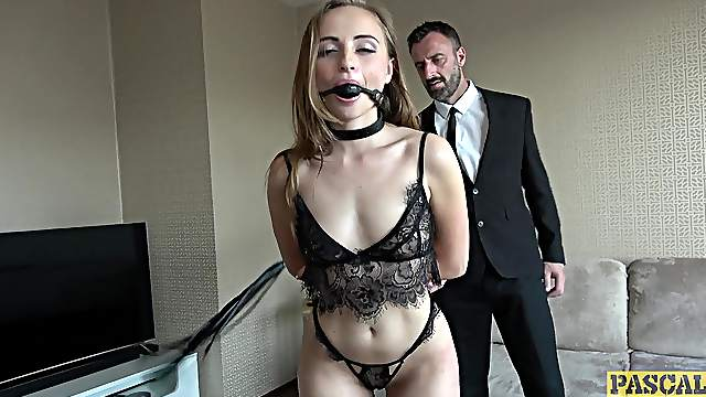 Insolent girl acts submissive with her man during a nasty maledom play