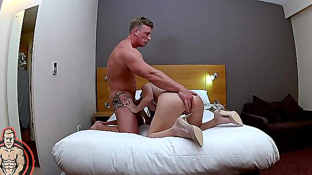 Aroused cam girl fucked in both holes while being taped