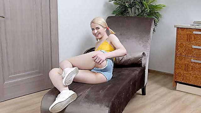 Little blonde teeny Viktoria Clockwork gets her ass full of dick