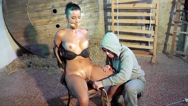 BDSM fetish video with maledom over oiled Gabriella in HD