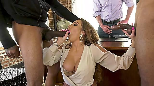 Top woman handles the heavy BBCs in front of her hubby