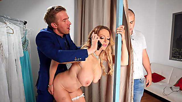 Big cock and tit-pulling for stacked Jess Scotland and future stepson