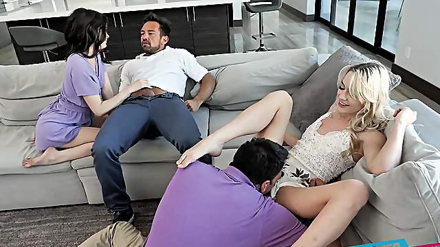 Dirty stepdad swapping with hot girls Kenna James and Jenna Ross