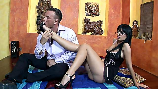 Fine babe bends for cock after nice foot teaser
