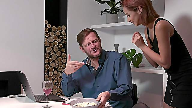 Aroused redhead takes her dose of cock during dinner