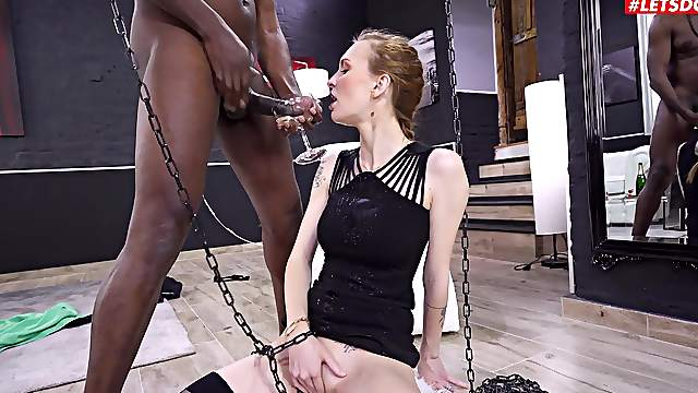 Gagged slut plays submissive until the BBC explodes on her face
