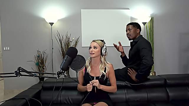 Blonde enchantress Emma Hix has two throbbing black dicks to deal with