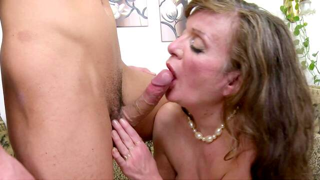 Granny gives head before letting nephew fuck her ass
