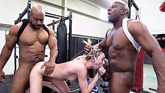 Energized blonde suits her tiny holes with two muscular BBCs