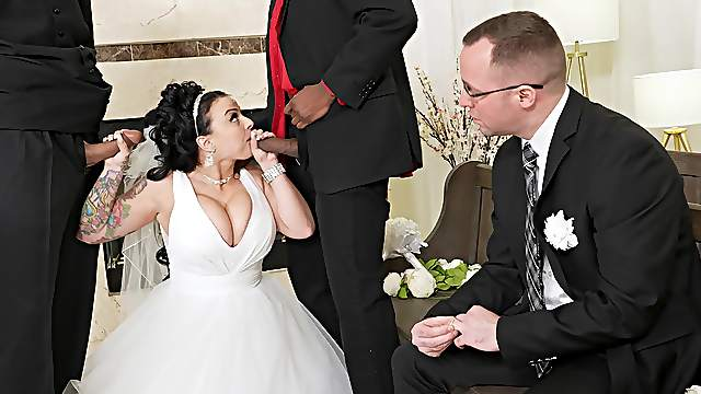 Bride gets her dose of cock in cuckold wedding day porn