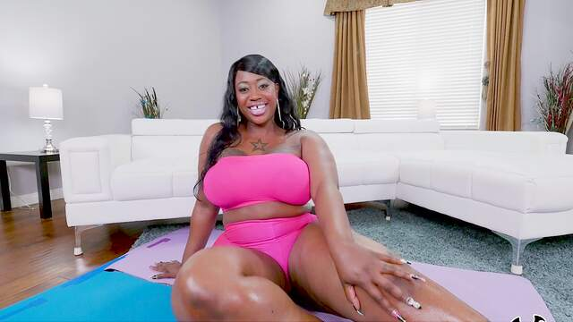 Thick ebony with huge tits, first time POV