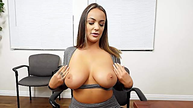 POV titty fuck and suck during a job interview for Sofi Ryan
