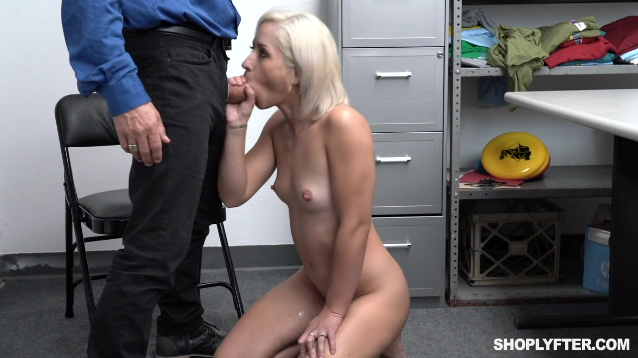 Alluring blonde sucks her way out of this situation