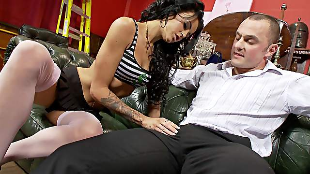 Sexy brunette wants this man's dick in both her tiny holes