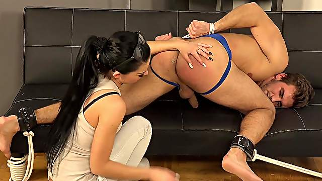 Male slave leaves mistress to try his butt hole in multiple modes