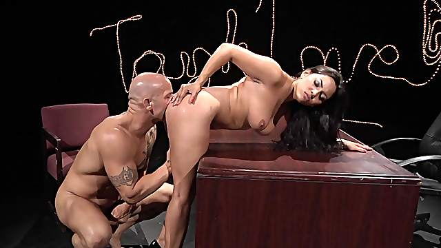 Muscular man suits gorgeous Latina with deep sex and oral