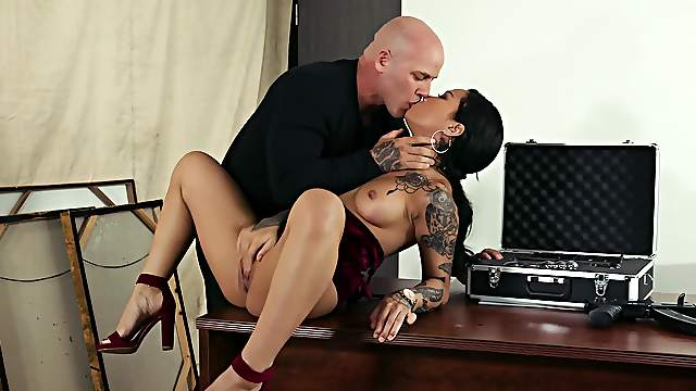 Bald dude ass fucks this tattooed chick the hard way