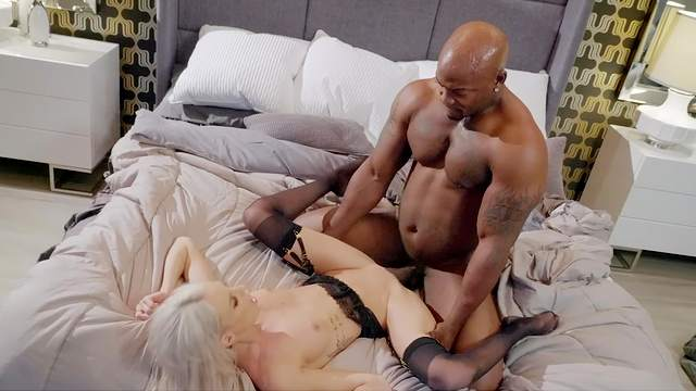 Muscular black man rams young blonde until she falls exhausted