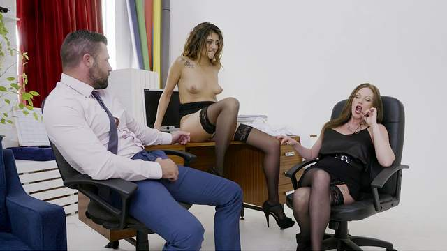Office MILFs are keen to share this man's dick in a rough mode