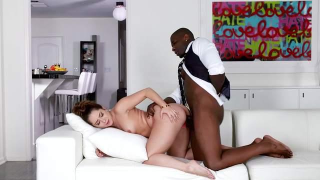 Black man rams teen beauty and cums on her fine ass