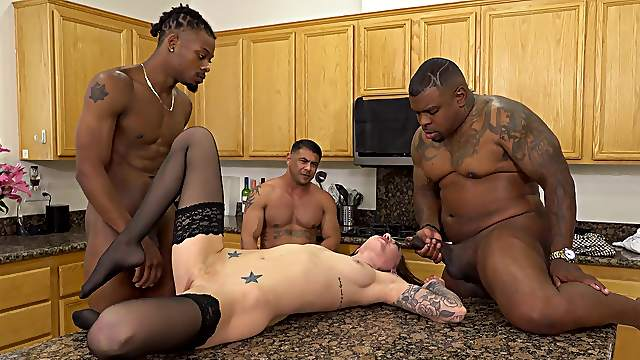 Kendra Cole's cuckold watches his black friends fuck her good