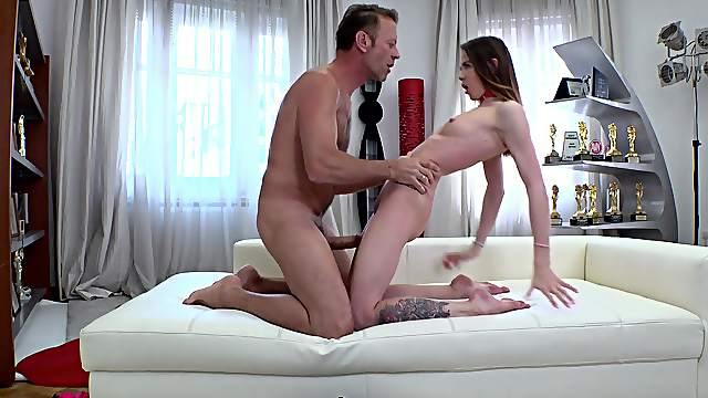 Sultry minx Lovenia Lux eagerly bounces on a stiff meat pole