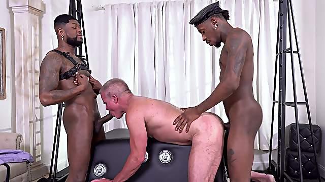 Black men drill gay man and cum on his balls